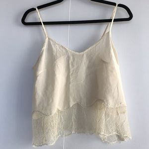 ARITZIA | WILFRED CHIMERE 100% SILK TANK WITH LACE